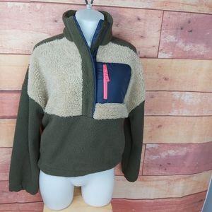 Columbia teddy fleece sweater 1/4 zip oversized